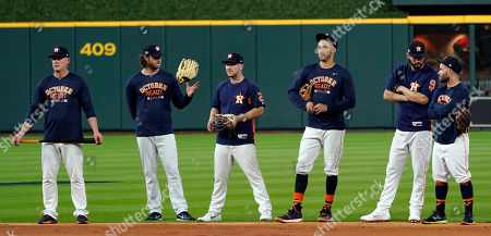 AJ Hinch, Gerrit Cole, Alex Bregman, Carlos Correa, Marwin Gonzalez, Jose Altuve. From left to right, Houston Astros manager AJ Hinch, Gerrit Cole, Alex Bregman, Carlos Correa, Marwin Gonzalez and Jose Altuve watch during batting practice, in Houston. The Astros will play the Cleveland Indians in Game 1 of the American League Division Series Friday