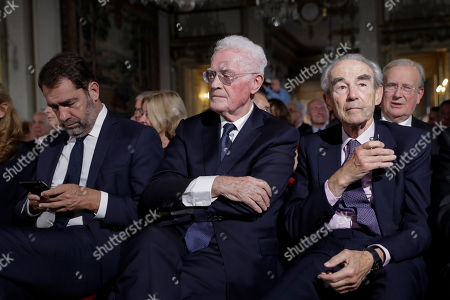 Member of the Constitutional Council Lionel Jospin (C), former President of the Constitutional Council Robert Badinter (R) French Junior Minister for the Relations with Parliament Christophe Castaner (L) sit at the Constitutional Council in Paris, France, 04 October 2018, during a meeting to mark the 60th anniversary of the promulgation of the Constitution of the Fifth Republic adopted by referendum on 28 September 1958.