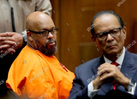 Stock Photo of Former rap mogul Marion 'Suge' Knight, 53, looks toward the gallery as he appears with defense attorney Albert DeBlanc (R) in court for sentencing after he pleaded no contest to manslaughter for running over Terry Carter with his truck during an argument near the set of the movie biopic 'Straight Outta Compton' in Los Angeles, California, USA, 04 October 2018.