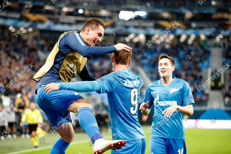 Aleksandr Kokorin (C) of FC Zenit celebrates with teammates scoring the 1-0 lead during the UEFA Europa League Group C soccer match between FC Zenit St. Petersburg and SK Slavia Prague in St. Petersburg, Russia, 04 October 2018.