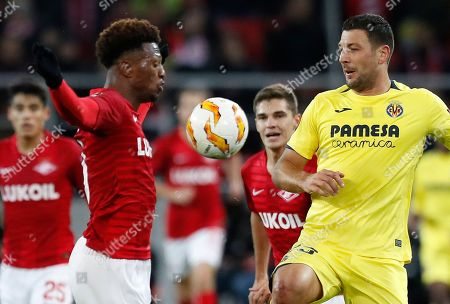 Ze Luis, Daniele Bonera. Villarreal's Daniele Bonera, right, fights for the ball with Spartak Moscow's Ze Luis, second from left, and Fernando during the Europa League Group G soccer match between Spartak Moscow and Villarreal at the Otkrytiye Arena stadium in Moscow, Russia