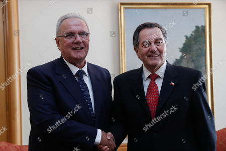 Commissioner for International Cooperation and Development of the European Union Neven Mimica (L) meets Chilean Foreign Minister Roberto Ampuerto (R), at the Ministry of Foreign Affairs in Santiago, Chile, 04 October 2018. Earlier today, Mimica and the executive secretary of ECLAC Alicia Barcena, spoke during a dialogue with authorities and representatives of the countries of the region.
