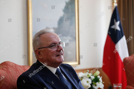 Commissioner for International Cooperation and Development of the European Union Neven Mimica meets Chilean Foreign Minister Roberto Ampuerto (out of frame), at the Ministry of Foreign Affairs in Santiago, Chile, 04 October 2018. Earlier today, Mimica and the executive secretary of ECLAC Alicia Barcena, spoke during a dialogue with authorities and representatives of the countries of the region.