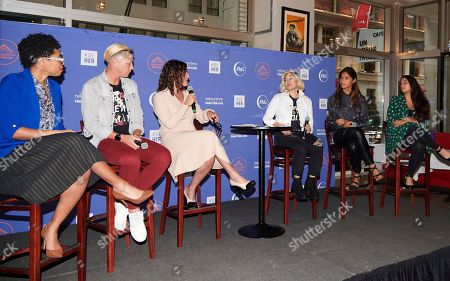 Dr. Knatokie Ford, Abby Wambach, Jennifer Rudolph Walsh, MILCK, Geena Rocero, and Maysoon Zayid discuss the importance of storytelling at an event hosted by Hello Sunshine x Together Live on in advance of the #SheIsEqual Summit