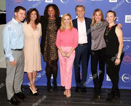 Tom Duncan, Jennifer Rudolph Walsh, Anitra Marsh, Reese Witherspoon, Marc Pritchard, Patty Kerr, and Allison Tummon pause for a photo-op before the #SheIsEqual Summit