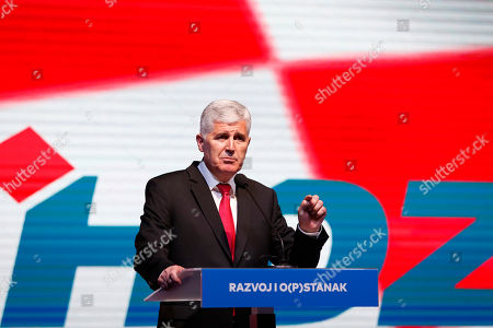 Dragan Covic, presidential candidate of the Croatian Democratic Union of Bosnia and Herzegovina (HDZ), speaks during a political rally in Mostar, Bosnia, on . Bosnia holds a general election this weekend that could cement ethnic divisions of the 1992-95 war as a pro-Russian nationalist bids for a top post and politicians cling to war-era rivalries rather than reform needed to pull the country out of the post-war limbo