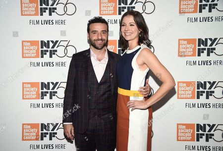"""David Krumholtz, Vanessa Britting. Actor David Krumholtz, left, and wife Vanessa Britting attend the premiere for """"The Ballad of Buster Scruggs"""" at Alice Tully Hall during the 56th New York Film Festival, in New York"""