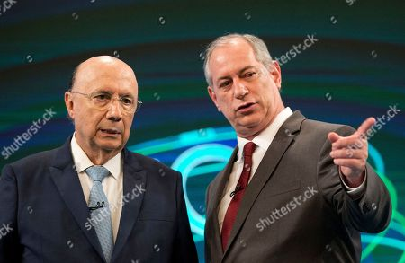 Stock Image of Henrique Meirelles, presidential candidate of the Democratic Movement Party, left, talks with Ciro Gomes, presidential candidate of the Democratic Labor Party, before a live, televised presidential debate in Rio de Janeiro, Brazil, . Brazil will hold general elections on Oct. 7