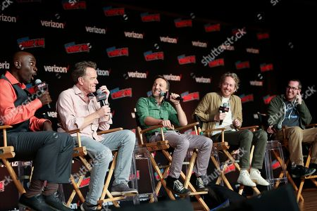 "Gary Anthony Williams, Bryan Cranston, Breckin Meyer, Zeb Wells, Matt Senreich. Gary Anthony Williams, Bryan Cranston, Breckin Meyer, Zeb Wells and Matt Senreich speak at Sony Crackle's ""SuperMansion"" panel at New York Comic Con on Thursday, October, 4, 2018"