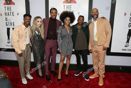 """Lamar Johnson, Sabrina Carpenter, Russell Hornsby, Amanda Stenberg, Algree Smith, Common. Actors Lamar Johnson left, Sabrina Carpenter, Russell Hornsby, Amanda Stenberg, Algree Smith and Common attend a special screening of """"The Hate U Give"""" at The Paris Theater, in New York"""