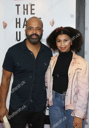 """Stock Image of Jeffery Wright, Juno Wright. Actor Jeffery Wright and Juno Wright attend a special screening of """"The Hate U Give"""" at The Paris Theater, in New York"""