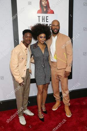 """Lamar Johnson, Amanda Stenberg, Common. Actors Lamar Johnson left, Amanda Stenberg and Common attend a special screening of """"The Hate U Give"""" at The Paris Theater, in New York"""