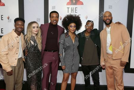 """Lamar Johnson, Sabrina Carpenter, Russell Hornsby, Amandla Stenberg, Algree Smith, Common. Actors Lamar Johnson, Sabrina Carpenter, Russell Hornsby, Amandla Stenberg, Algree Smith and Common, from left, attend a screening of """"The Hate U Give"""" at The Paris Theater, in New York"""