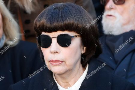 French singer Mireille Mathieu attends a ceremony to pay tribute to late singer Charles Aznavour Oct.5, 2018 in Paris. Aznavour, the French crooner and actor whose performing career spanned eight decades and who seduced fans around the world with his versatile tenor, lush lyrics and kinetic stage presence, has died. He was 94