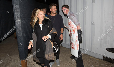 Jeremy Irvine is chased by Scare Actors at the launch of Thorpe Park Resort's annual Fright Nights season.