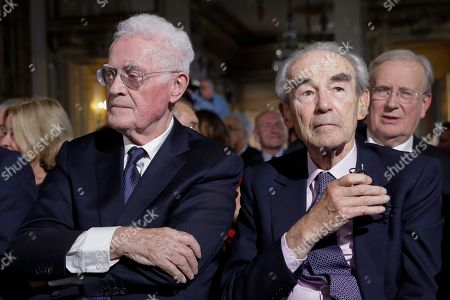 Member of the Constitutional Council Lionel Jospin, left, and former President of the Constitutional Council Robert Badinter attend a ceremony at the Constitutional Council in Paris, during a meeting to mark the 60th anniversary of the promulgation of the Constitution of the Fifth Republic adopted by referendum on September 28, 1958