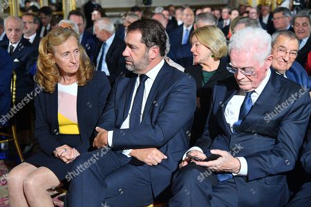 French Junior Minister for the Relations with Parliament Christophe Castaner, French Justice Minister Nicole Belloubet and Member of the Constitutional Council Lionel Jospin at the Constitutional Council in Paris