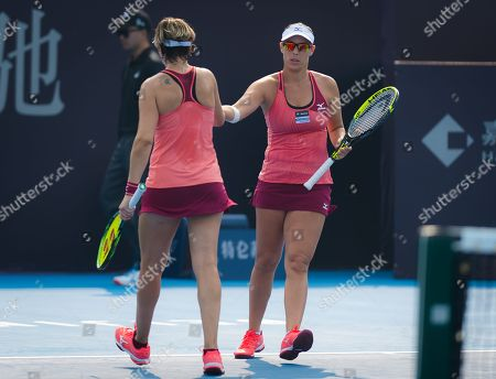 Andreja Klepac of Slovenia and Maria Jose Martinez Sanchez of Spain in action during a doubles match