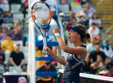 Andrea Hlavackova and Barbora Strycova of the Czech Republic in action during a doubles match