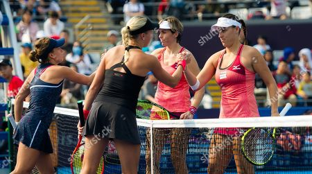 Andrea Hlavackova, Barbora Strycova of the Czech Republic, Andreja Klepac of Slovenia and Maria Jose Martinez Sanchez of Spain in action during a doubles match