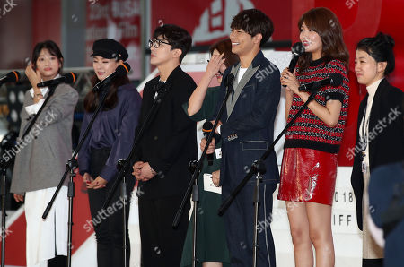 Stock Photo of The director and cast of 'Memories of a Dead End' (L-R) Bae Noo-ri, Lee Jung-min, Dong Hyun-bae, Shunsuke Tanaka, Choi Soo-young and director Choi Hyun-young greet fans during a news conference at the 23rd Busan International Film Festival (BIFF) in Busan, South Korea, 05 October 2018. The BIFF will screen 323 films from 79 countries and runs from 04 to 13 October 2018.