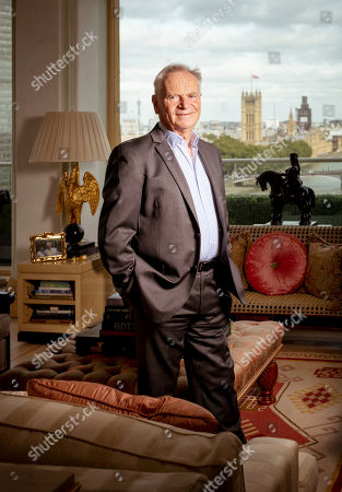Former politician and author Jeffrey Archer at home in his penthouse suite on the Albert Embankment, London.