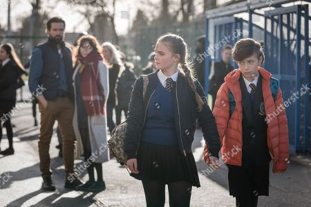 Emmett J Scanlan as Stephen, Anna Friel as Vicky, Millie Gibson as Lily and Callum Booth-Ford as Maxine.