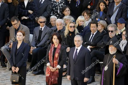 Stock Picture of French comedian Dany Boon, French car racer Paul Belmond, French acteur Jean-Paul Belmondo, French comedian Laurent Gerra and his partner Christelle Bardet and French singer Eddy Mitchell and his wife Muriel Bailleul