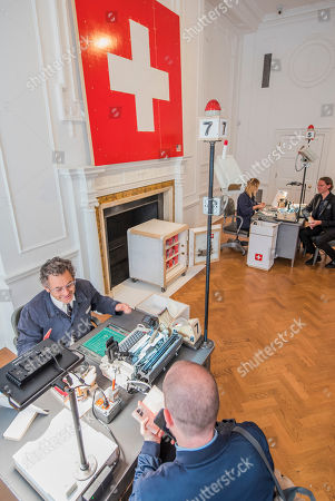 24 hour live performance of Swiss Passport Office by American artist Tom Sachs at Galerie Thaddaeus Ropac London. Visitors can be issued with a Tom Sachs Studio Swiss passport from Friday 5 October, 6pm - Saturday 6 October, 6pm.