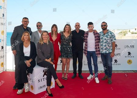 Spanish director Dani de la Orden (L, second row), Spanish actors and cast members Ernesto Alterio (2-L), Adriana Torrebejano (C), Michelle Jenner (3-L), Luis Tosar (3-R) and Jaime Lorente (2-R) attend the presentation of his film 'Sombra de Ley' (lit: shadow of law) at the 51st the Sitges Film Festival, in Sitges, Spain, 05 October 2018. The festival runs from 04 to 14 October.