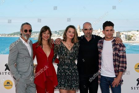 (L-R) Spanish actors and cast members Ernesto Alterio, Michelle Jenner, Adriana Torrebejano, Luis Tosar and Jaime Lorente attend the presentation of his film 'Sombra de Ley' (lit: shadow of law) at the 51st the Sitges Film Festival, in Sitges, Spain, 05 October 2018. The festival runs from 04 to 14 October.