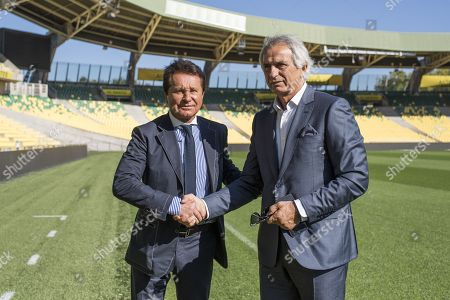Nantes' newly appointed Bosnian head coach Vahid Halilhodzic is pictured with the president of the FC Nantes Waldemar kita at La Beaujoire Stadium