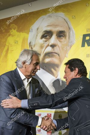 Nantes' newly appointed Bosnian head coach Vahid Halilhodzic delivers a press conference with  the president of the FC Nantes Waldemar kita at La Beaujoire Stadium