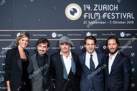 (L-R) Co-director Nadja Schildknecht, Wayne Roberts, actor Johnny Depp, Zurich Film director Karl Spoerri and Greg Shapiro pose on the Green Carpet prior to the screening of the movie 'Richard says goodbye' during the 14th Zurich Film Festival (ZFF) in Zurich, Switzerland, 05 October 2018. The festival runs from 27 September to 07 October.