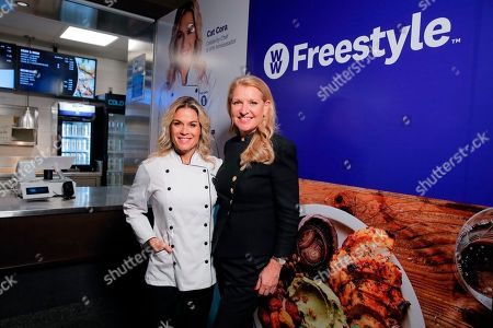 Stock Picture of Cat Cora, Mindy Grossman. Celebrity Chef and newest WW Ambassador Cat Cora, left, with WW President and CEO Mindy Grossman, opens the WW Freestyle Café: BKLYN at Barclays Center on in Brooklyn, New York. The WW Freestyle Café: BKLYN offers a diverse menu of WW Freestyle-inspired Mediterranean dishes