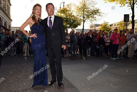 German journalist Kai Diekmann and his wife Katja Kessler arrive for the wedding celebration of former German Chancellor Gerhard Schroeder and Korean translator Kim So Yeon at the Adlon Hotel in Berlin, Germany, 05 October 2018.