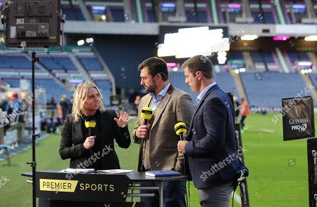 Edinburgh vs Toyota Cheetahs . Premier Sports' Emma Dodds, Thinus Delport and Hugo Southwell