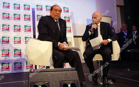 President of Italian centre-right party Forza Italia (FI) Silvio Berlusconi, interviewed by Italian Journalist Alessandro Sallusti (R) during the convention IdeeItalia in Milan, Italy, 05 October 2018.