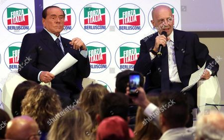 Stock Image of President of Italian centre-right party Forza Italia (FI) Silvio Berlusconi interviewed by Italian Journalist Alessandro Sallusti (R) during the convention IdeeItalia in Milan, Italy, 05 October 2018.