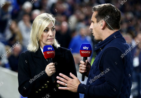 Kelly Cates and Gary Neville are seen working for Sky Sports.
