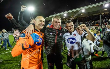 Dundalk vs St. Patrick's Athletic. Dundalk's Gary Rogers, Stephen Kenny and Michael Duffy celebrate winning the league
