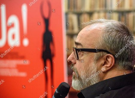 Spanish filmmaker Alex de la Iglesia attends a press conference in Bilbao, northern Spain, 05 October 2018. De la Iglesia was awarded the 'BBK Ja! Bilbao' award by the International Festival of Literature and Art with Humour.