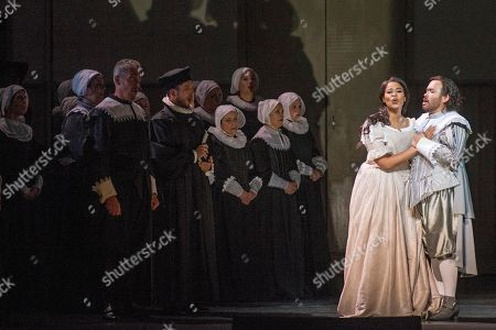 Stock Image of South African soprano Pretty Yende (2-R) and Mexican tenor Javier Camarena (R) perform during the opening of the Grand Liceu's new season with the Italian opera 'I puritani' (The puritans) by Italian composer Vincenzo Bellini (1801-1835) at the Grand Liceu Theater in Barcelona, Spain, 05 October 2018.