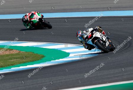 Czech MotoGP rider Karel Abraham of the Angel Nieto Team (front) and British MotoGP rider Scott Redding of the Aprilia Racing Team Gresini (back) in action during the free practice 3 session at the Motorcycling Grand Prix of Thailand at Chang International Circuit, Buriram province, Thailand, 06 October 2018. The Motorcycling Grand Prix of Thailand will take place on 07 October 2018.