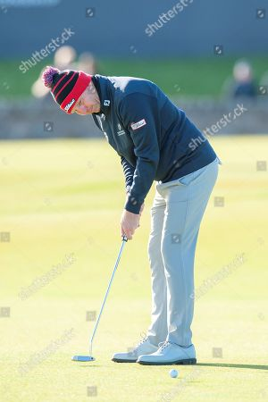 Stephen Gallacher putts on the first green, during the third round of the Alfred Dunhill Links Championships 2018 at St Andrews, West Sands