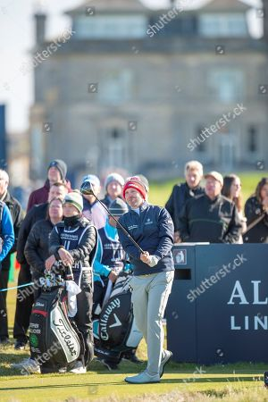 Stephen Gallacher plays his tee shot on the second, during the third round of the Alfred Dunhill Links Championships 2018 at St Andrews, West Sands