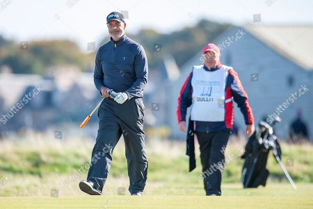 Ruud Gullit walks onto to the 16th green during the Alfred Dunhill Links Championships 2018 at St Andrews, West Sands