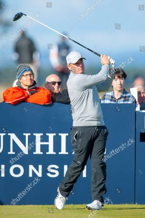 Paul McGinley plays his tee shot on the 17th, during the Alfred Dunhill Links Championships 2018 at St Andrews, West Sands