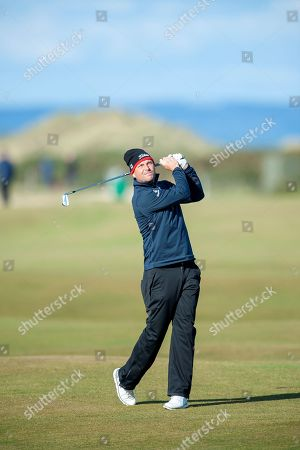 David Howell plays his second shot to the 16th during the Alfred Dunhill Links Championships 2018 at St Andrews, West Sands