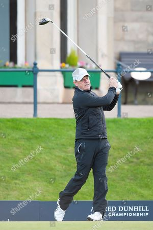 Paul McGinley tees off during round three of the Alfred Dunhill Links Championships 2018 at St Andrews, West Sands